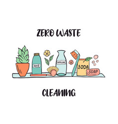 zero waste cleaning shelf with sustainable items vector image