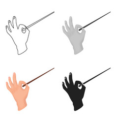 conductor orchestra icon in cartoon style isolated vector image