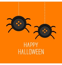 Two cute hanging button spiders on web happy vector