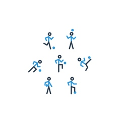 Blue black soccer team icons vector image
