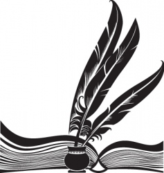 book and feathers vector image vector image