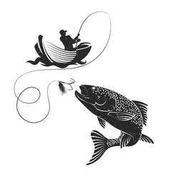 fisherman catches of salmon vector image