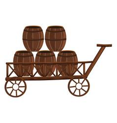 five barrels on wooden wagon vector image vector image