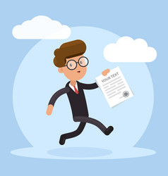 Happy businessman running with contract in his vector
