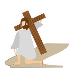 jesus christ falls first time - via crucis station vector image vector image
