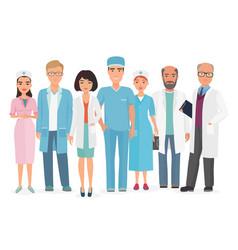 cartoon of group of doctors vector image vector image