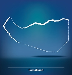 Doodle map of somaliland vector