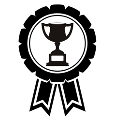 monochrome medal with trophy cup vector image vector image
