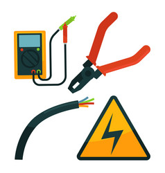 pliers near electric rope and warning sign set on vector image