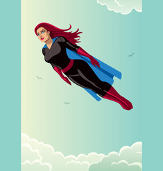 super heroine flying sky vector image vector image