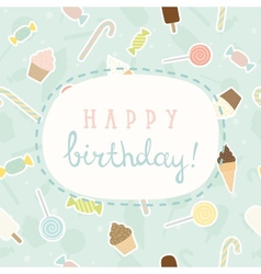 Sweet greeting Birthday card vector image