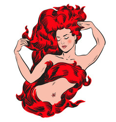 woman with red hair on fire vector image vector image