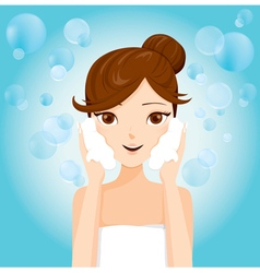 Young Woman Washing Face With Foam vector image