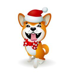 akita inu japanese dog christmas poster with vector image vector image