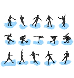figure skating silhouettes vector image vector image
