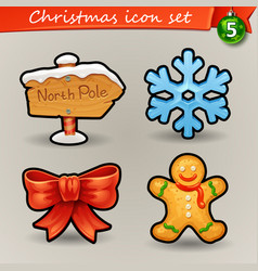 funny christmas icons-5 vector image vector image