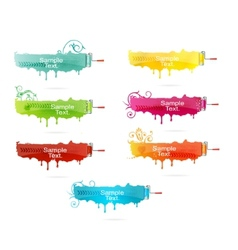grunge colored brush set vector image vector image