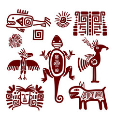 maya or indian traditional signs vector image