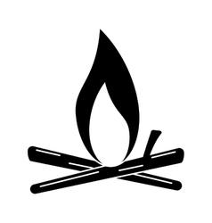 silhouette bonfire wood camping design vector image