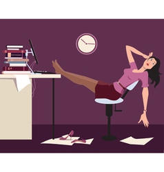 Working late and tired vector image