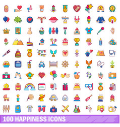 100 happiness icons set cartoon style vector image