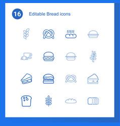 16 bread icons vector
