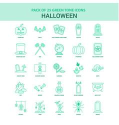 25 green halloween icon set vector