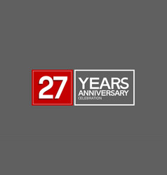 27 years anniversary in square with white and red vector