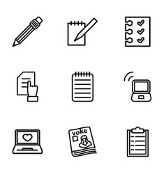 9 notebook icons vector image