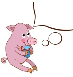 A character pig with a white cloud design element vector image