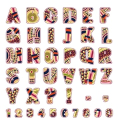 abc letters with ethnic patterns vector image