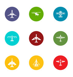 airman icons set flat style vector image