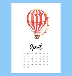 April 2018 year calendar page vector