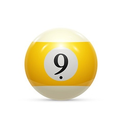 Billiard nine ball isolated on a white background vector
