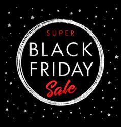 black friday super sale silver star banner vector image