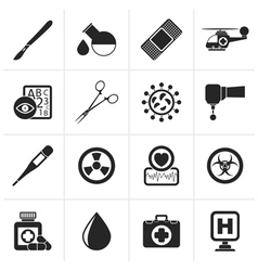 Black Medicine and hospital equipment icons vector