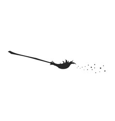 black silhouette witch broom vector image
