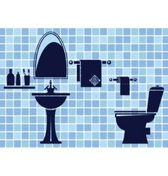 Blue bathroom interior vector