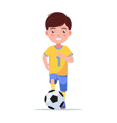 boy football player in sportswear runs with ball vector image