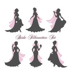 bride silhouettes set vector image