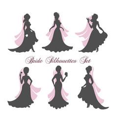 Bride silhouettes set vector