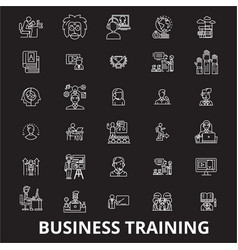 business training editable line icons set vector image
