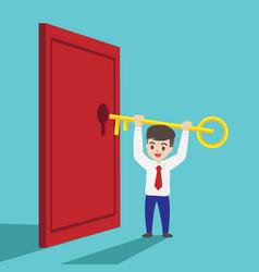 Businessman is trying to unlock door vector