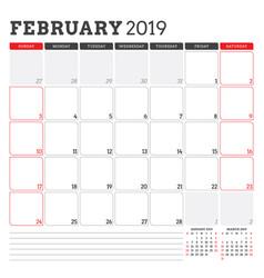 Calendar planner for february 2019 week starts on vector