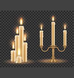 candlestick and burning candles set vector image