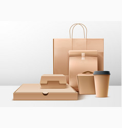 cardboard food boxes shopping bags set vector image