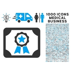Certificate Icon with 1000 Medical Business vector image