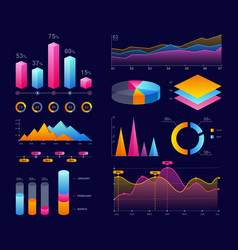 charts diagrams and graphs colorful vector image
