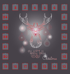 Christmas advent calendar with hand drawn dee vector