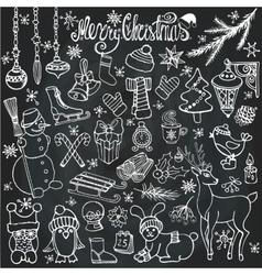 Christmas season doodle iconsanimalsChalkboard vector